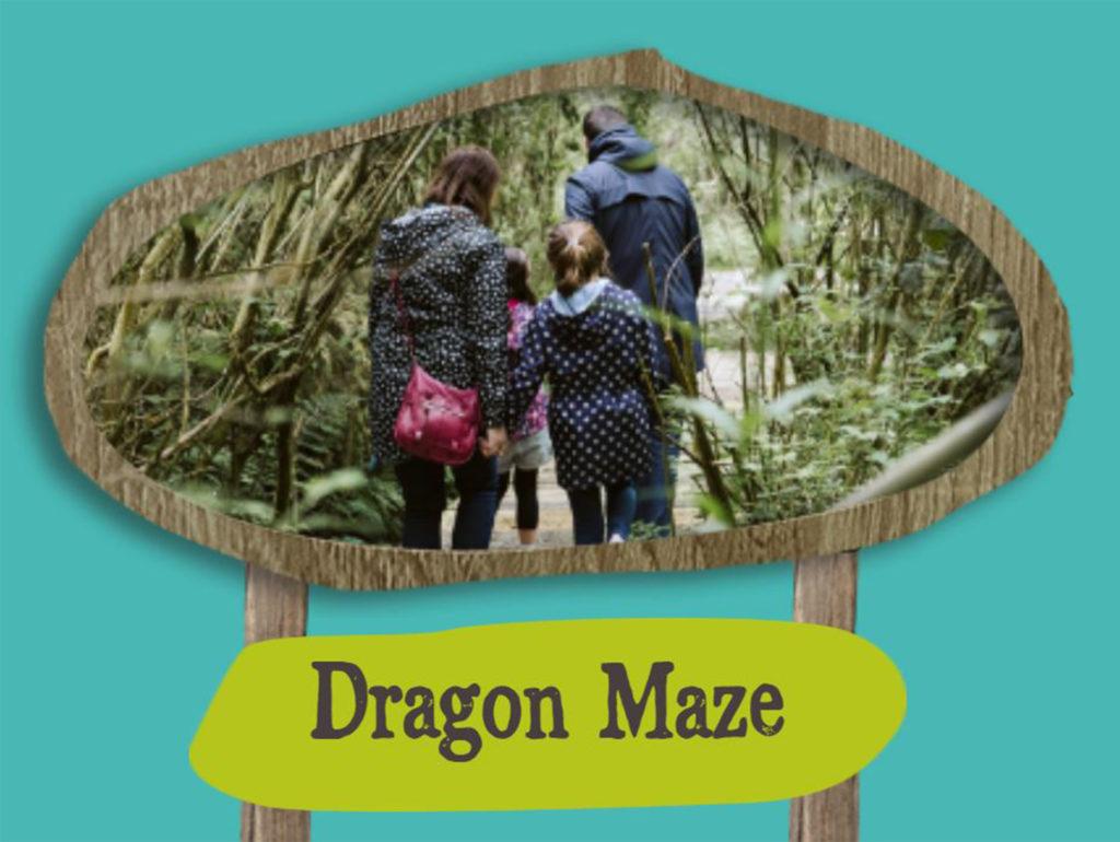 Image from website advertising Dragon Maze - photo in rough oval of family walking along boardwalk amongst vegetation