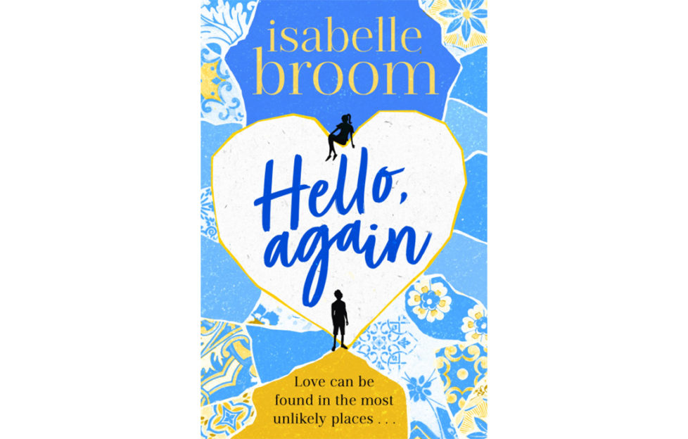 Cover of Hello Again - mosaic of broken blue tiles, large white heart in middle, silhouette of girl sitting at the top and man standing at the bottom