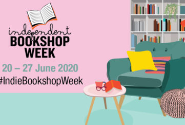Logo of independent bookshop week, digital illustration of an armchair and coffee table with bookshelves behind