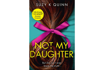 Cover of Not My Daughter, photo of long rich brown hair pulled loosely into purple ribbon tied in a bow