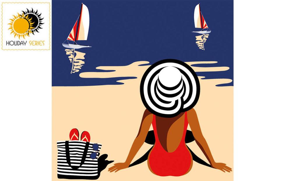 Digital cartoon of woman sitting on beach, back view, red costume and black/white spiral striped sunhat, 2 yachts on deep blue sea