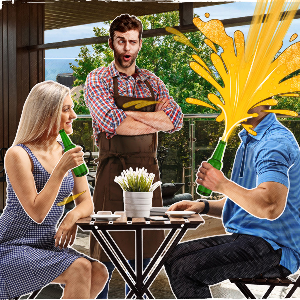 Photo collage of couple at table outdoors. Man's face is hidden in a jet of golden beer shooting out of the bottle he is holding. Waiter looks comically shocked.