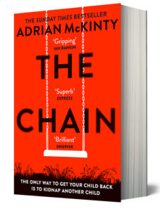 Cover of The Chain, red background, empty child's swing in white, lettering in black