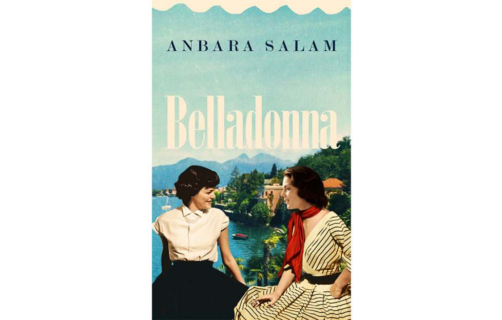 Cover of Belladonna, 1950s style image of 2 young women sitting on a wall, beautiful lakeside view behind