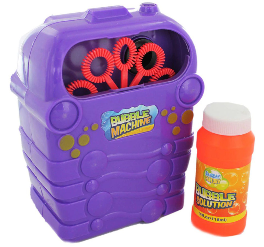 purple plastic bubble machine with a row of red hoops visible through a window at the top