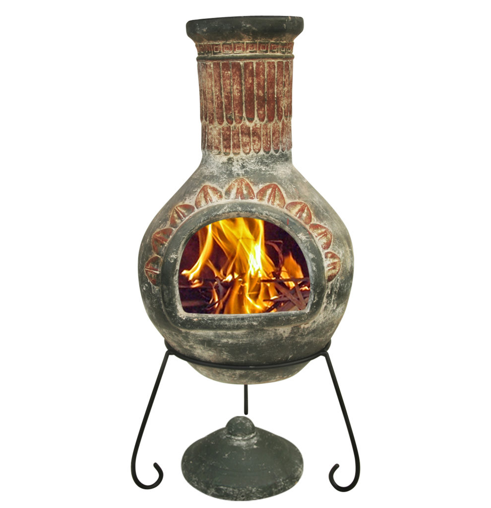 Pink and grey patterned chimenea on metal tripod, flames burning inside