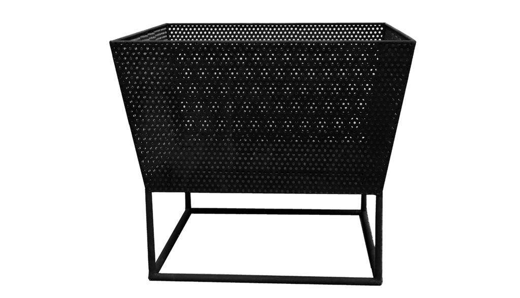 black mesh rectangular firebowl on frame