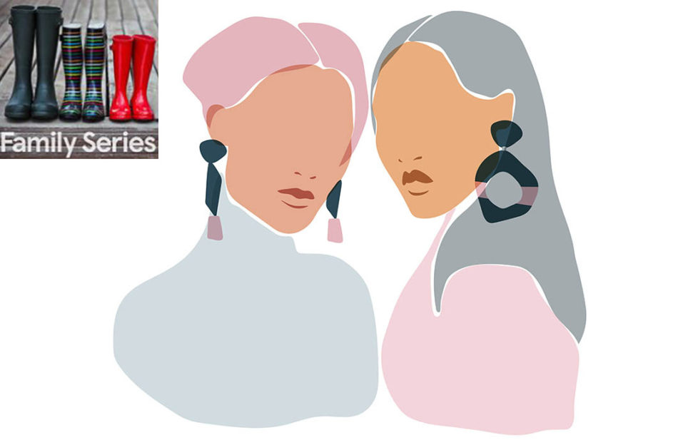 Illustration of 2 women talking, head and shoulders in pink, mid flesh tone and grey, faces blank except for lips and earrings