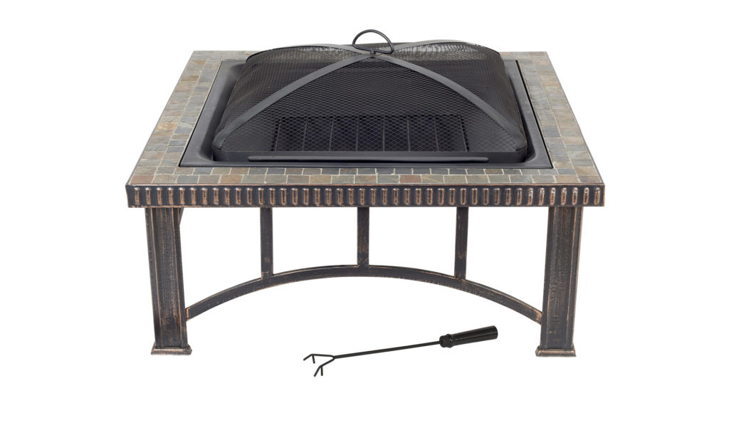 Square firepit with mosaic surround, metal legs and dome cover