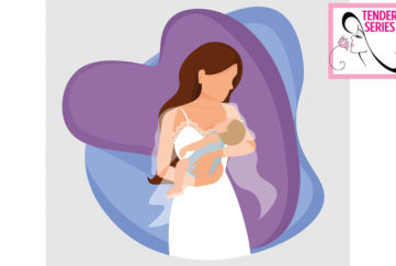 Digital cartoon of woman in nightdress cradling sleeping baby, purple heart behind