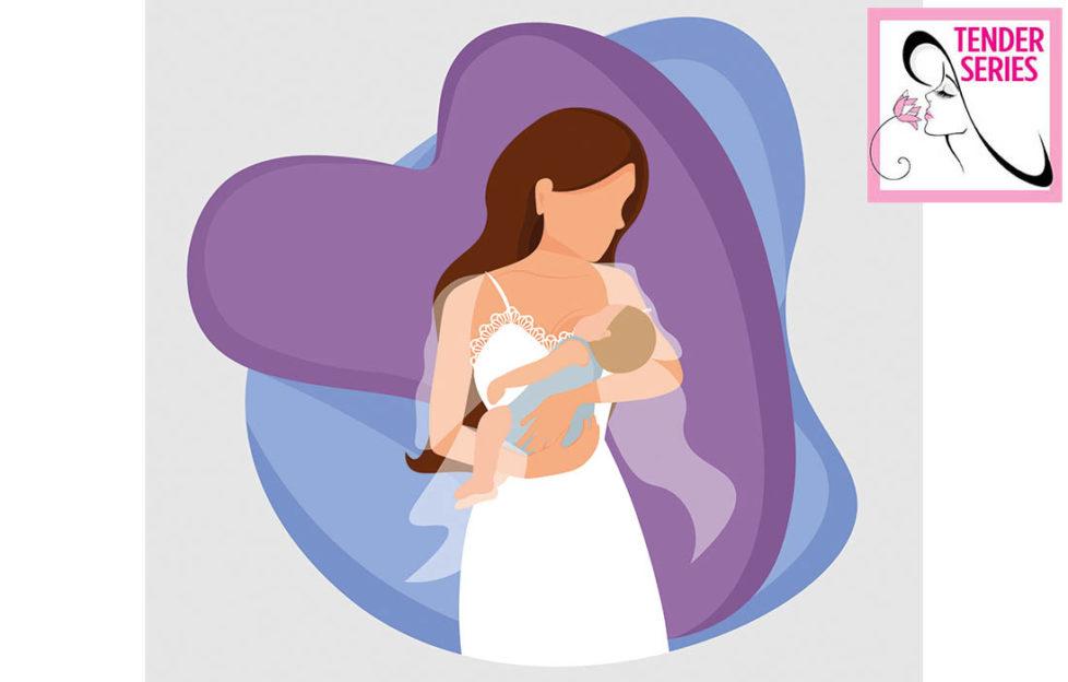 Digital cartoon of woman in nightdress cradling sleeping baby, purple heart behind