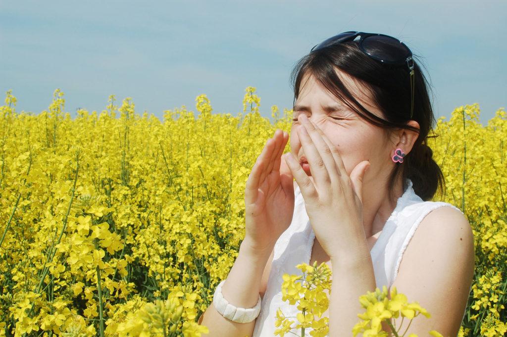 Pollen allergy, girl sneezing in a field of flowers;