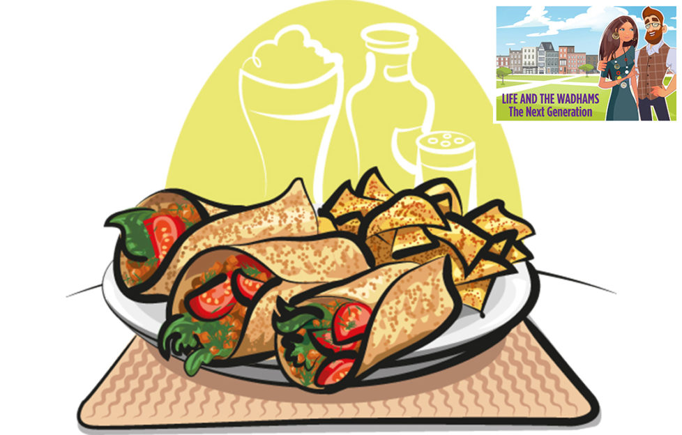 Date night. Illustration of fajitas on a plate with nacho chips, green panel behind
