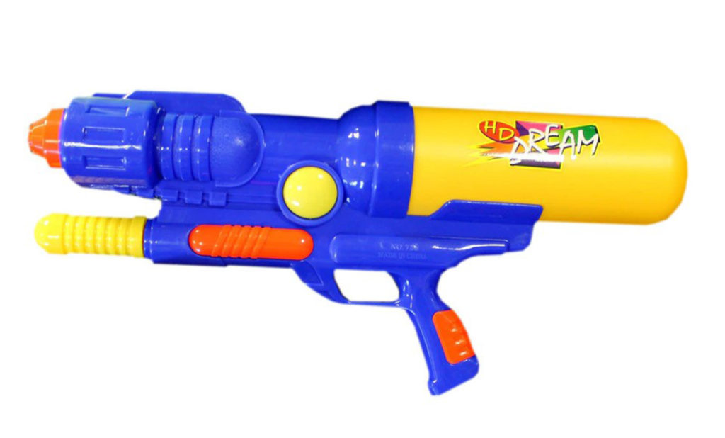 Large blue and yellow plastic pump action water gun