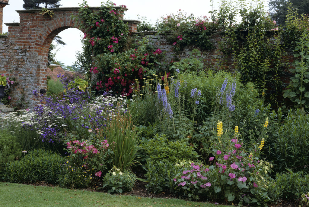 Lupins roses delphiniums in herbaceous borders at Gunby the garden in early summer, brick arch behind