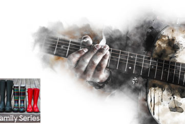Abstract beautiful hands playing Guitar on Watercolor painting background and Digital illustration brush to art