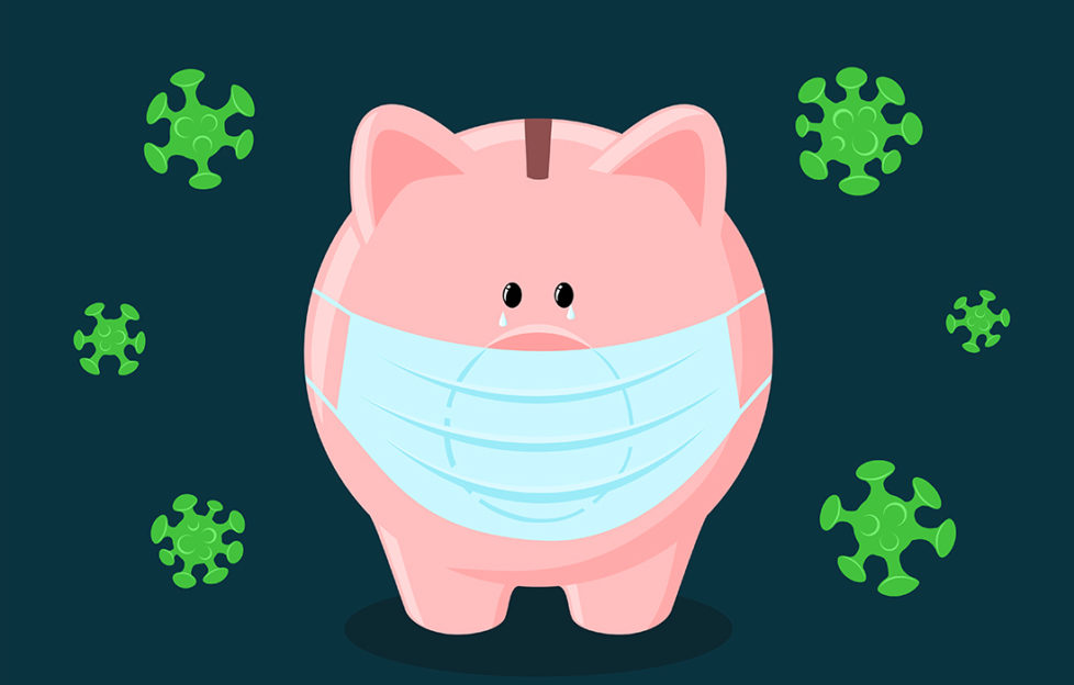 Cartoon of piggy bank in face mask surrounded by green virus molecules