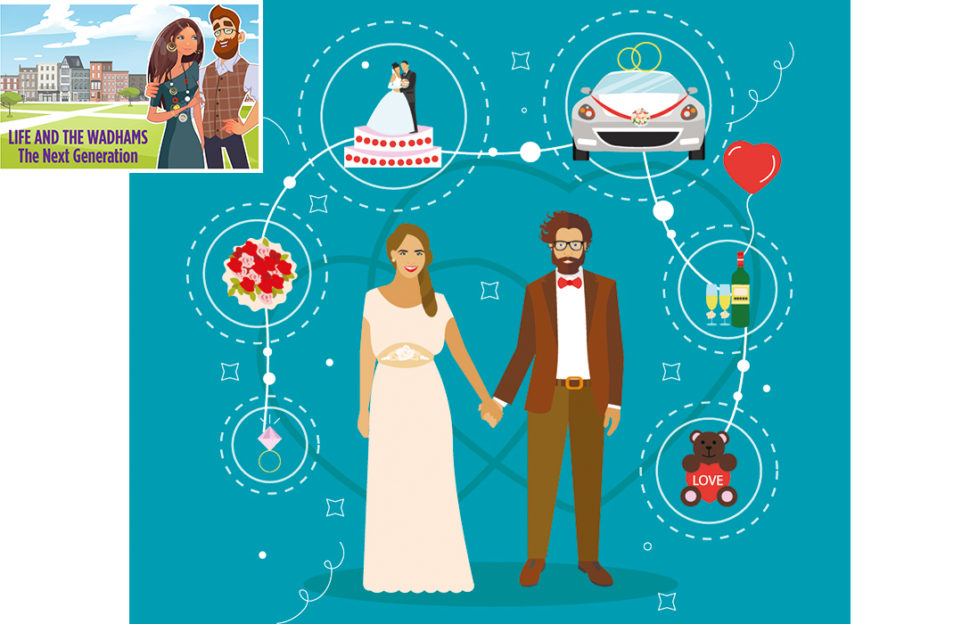 Illustration of young bride and groom standing hand in hand on teal background, images around them of engagement ring, cake, car, wedding dance and love symbol with teddy bear