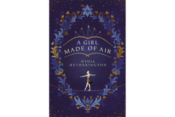 Cover of A Girl Made Of Air, deep purple, outline of big top tent, frame of gold and blue plumes and girl standing arms raised on tightrope