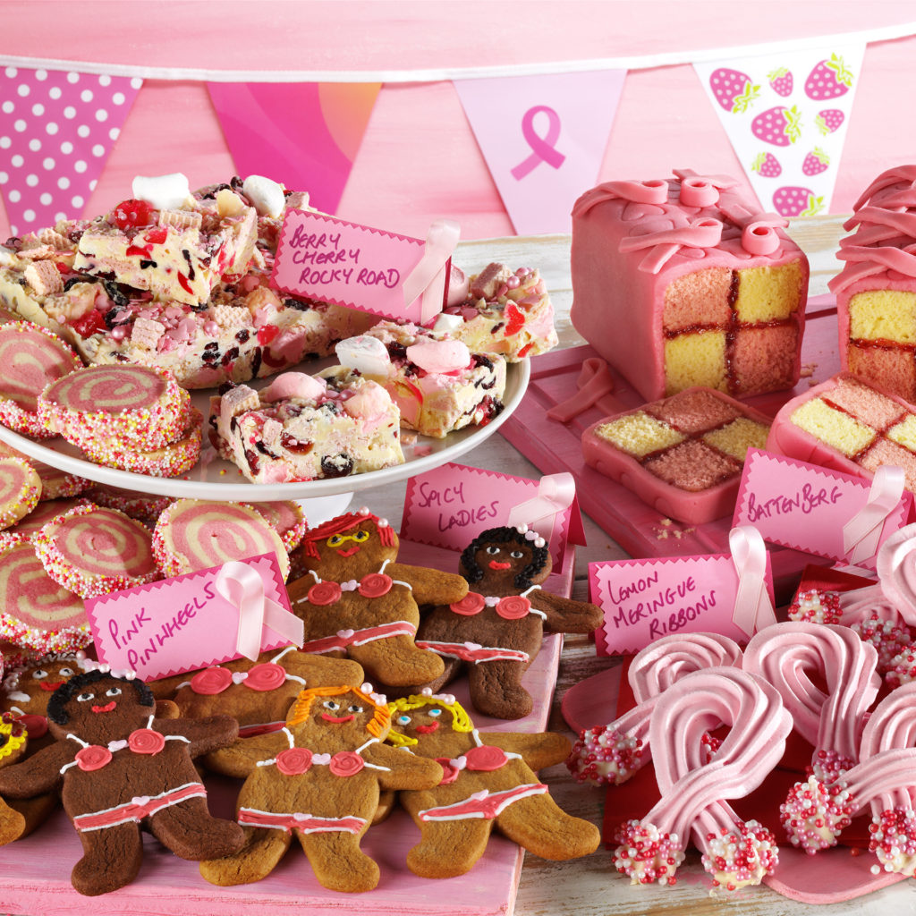 Amazing spread of cakes - gingerbread ladies in iced underwear, Battenberg cake, rocky road, pink swirl biscuits and piped meringues in style of pin-on pink ribbon loops