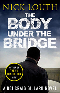 Cover of Body Under The Bridge, stormy sky, back view of black man approaching bridge