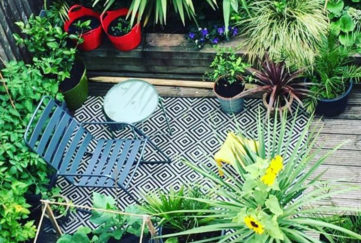 View from above small garden on decking, see tiny gardens section