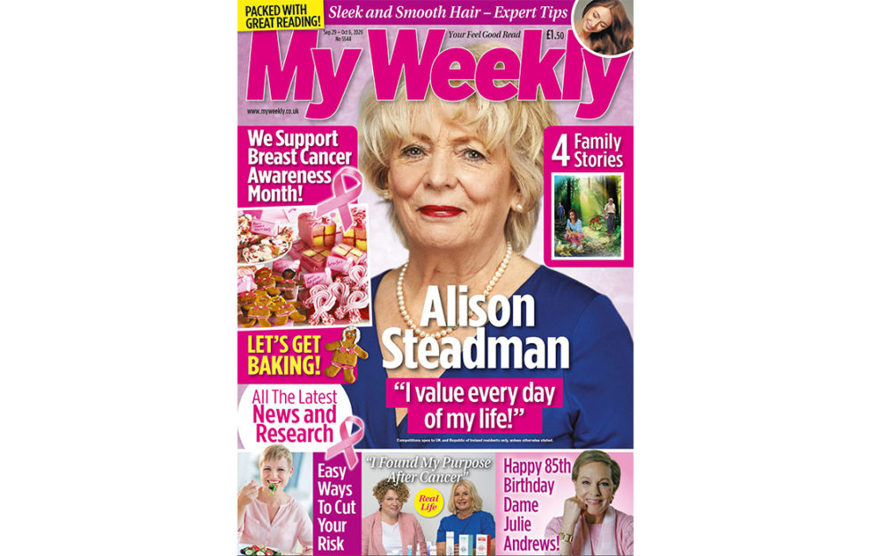 Cover of My Weekly latest issue with Alison Steadman and breast cancer awareness week