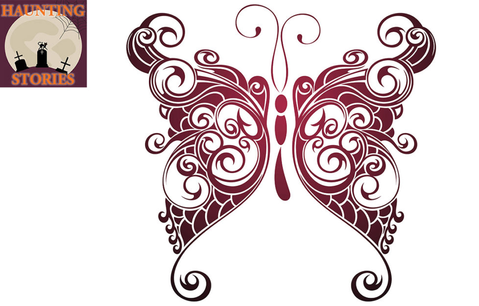 Ornate stylised tattoo-style illustration of a butterfly from purple to red