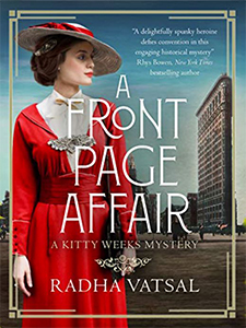 Cover of A Front Page Affair, well dressed 1920s woman in red suit and hat, narrow building behind