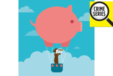 Cartoon of hot air balloon in shape of a pig, woman in basket with telescope