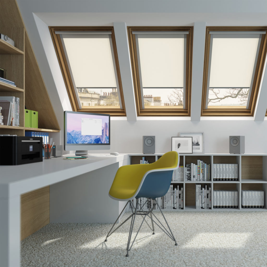 Converted attic, smart office with 3 long Velux windows, modern furniture and cream carpet