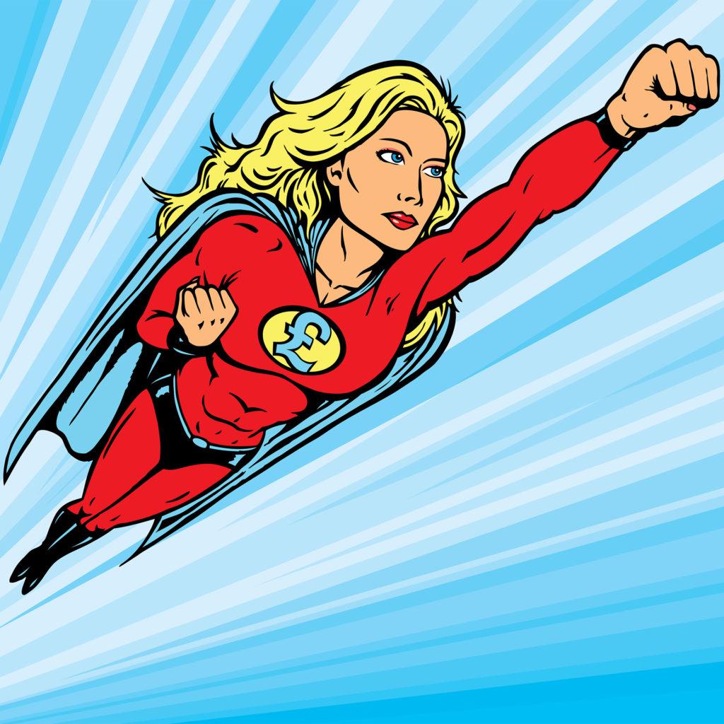 Cartoon of female superhero flying, chest badge has pound sign on it