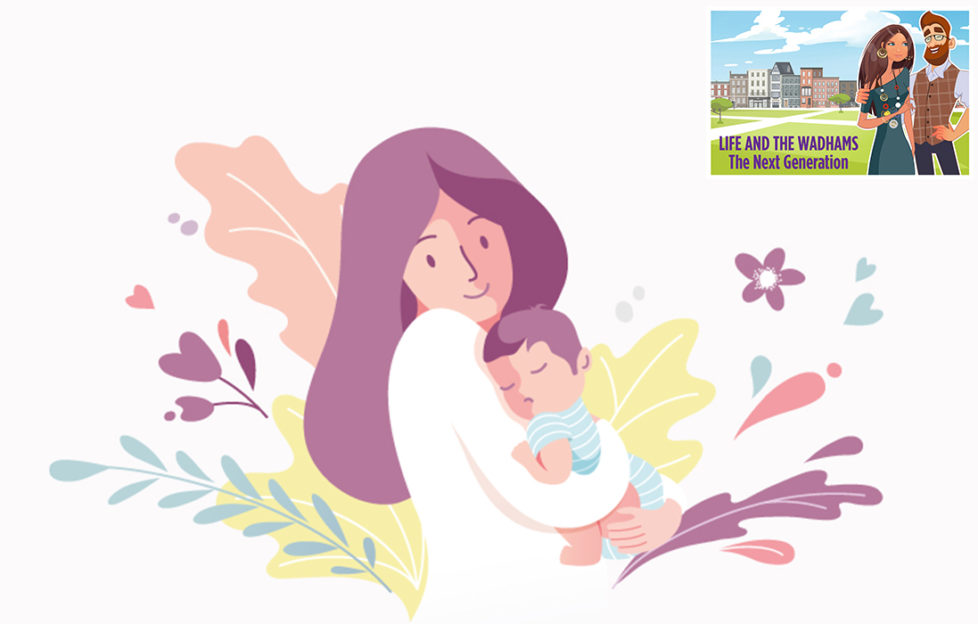 Pastel illustration of young mum smiling at sleeping baby boy in her arms