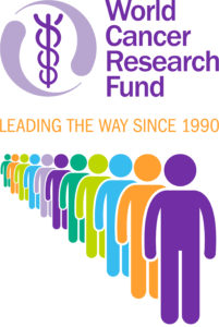Logo of World Cancer Research Fund with a queue of people symbols in different colours and medical snake and staff logo