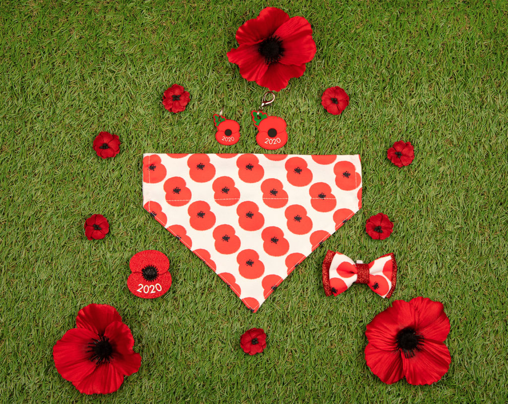 Poppy print bandana and other accessories laid out on green artificial grass