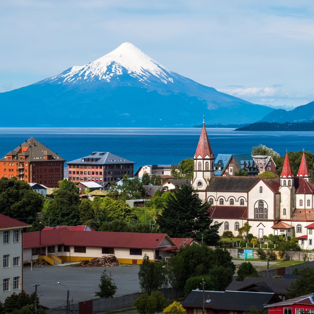 Town of Puerto Varas with volcano Osorno in the background. Chile;