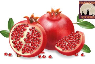 Illustration of 2 pomegranates, one cut to show seeds