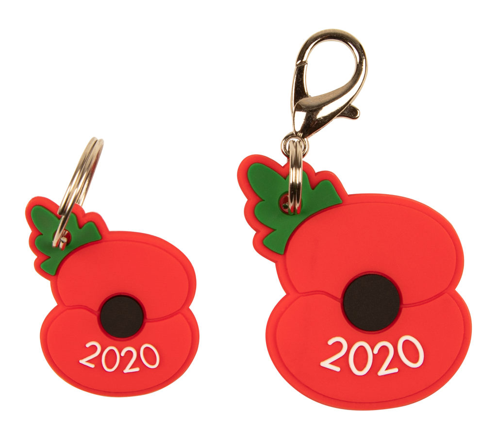 Poppy tag and charm with 2020 logo and hanging clips