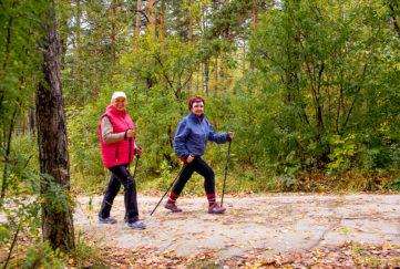 Senior ladies nordic walking;