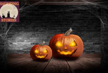 Trick or treat. 2 pumpkin lanterns on wooden floor, cobwebs above