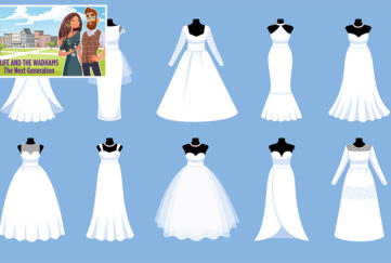 Illustration of 10 different wedding dresses on dressmaker's dummies, blue background