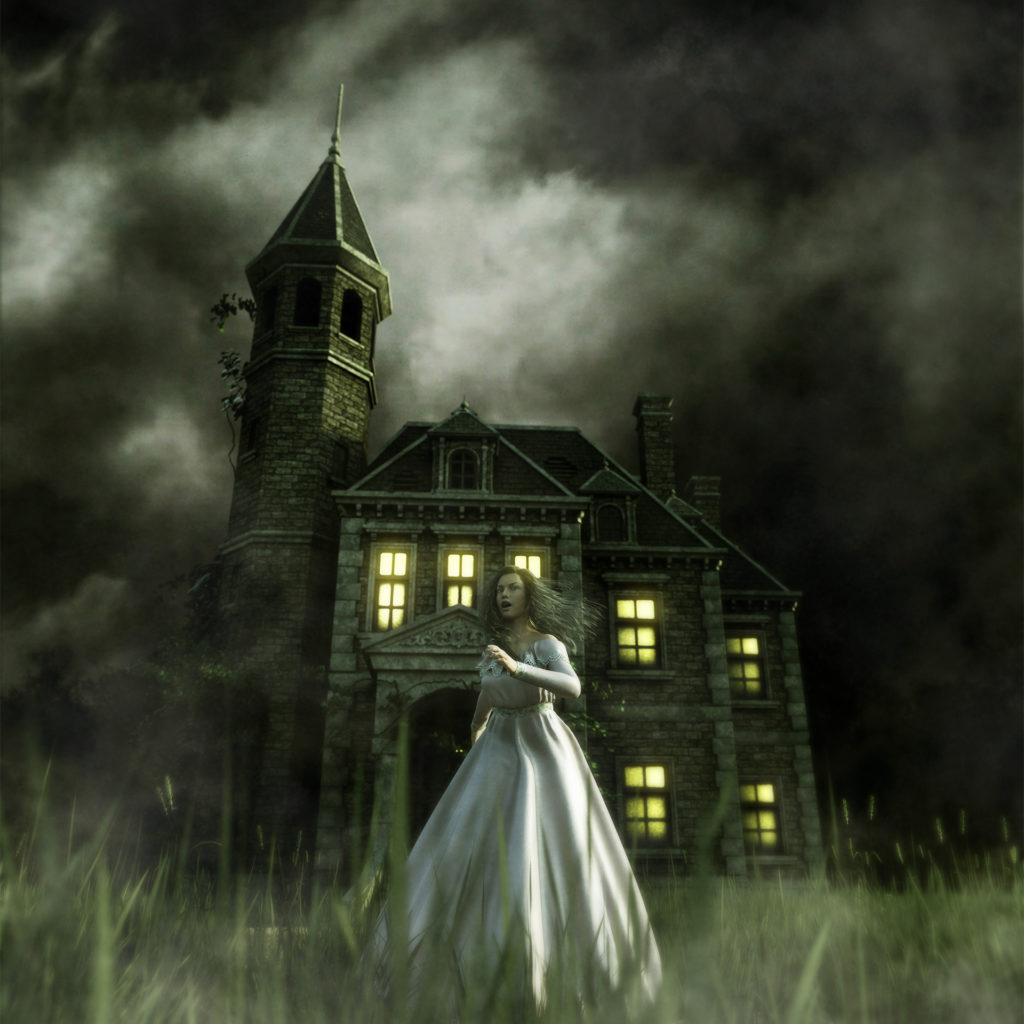 woman running away from a haunted house,3d illustration;