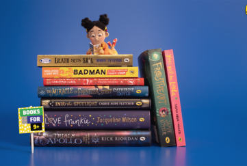 Books and an animated character