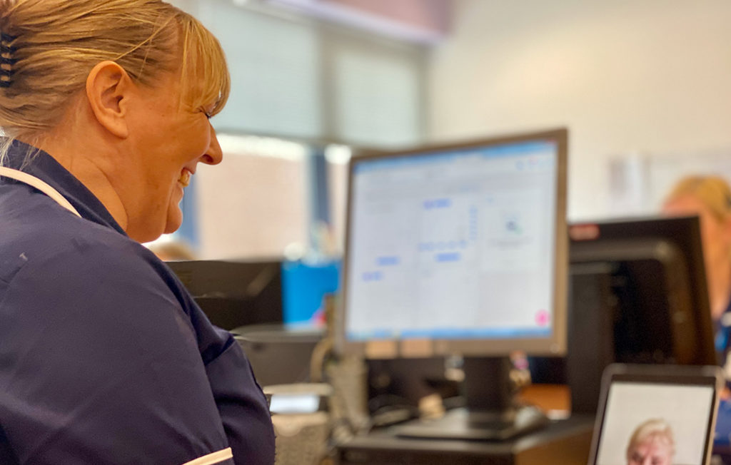 District nurse Lisa talking to a patient online