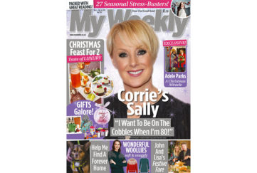 Cover of My Weekly latest issue with Sally Dynevor and festive dinner for 2
