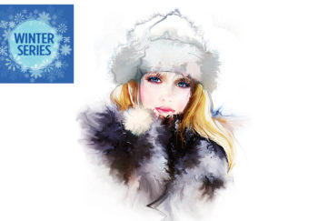 Beautiful watercolour illustration of pensive young woman, long blonde hair, in white furry hat and black/grey furry coat