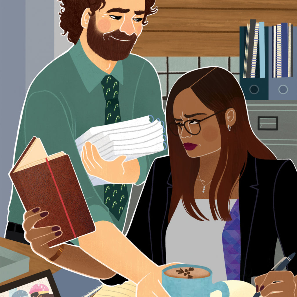 Illuatration of cheery man putting coffee mug on desk while woman boss scowls at her work