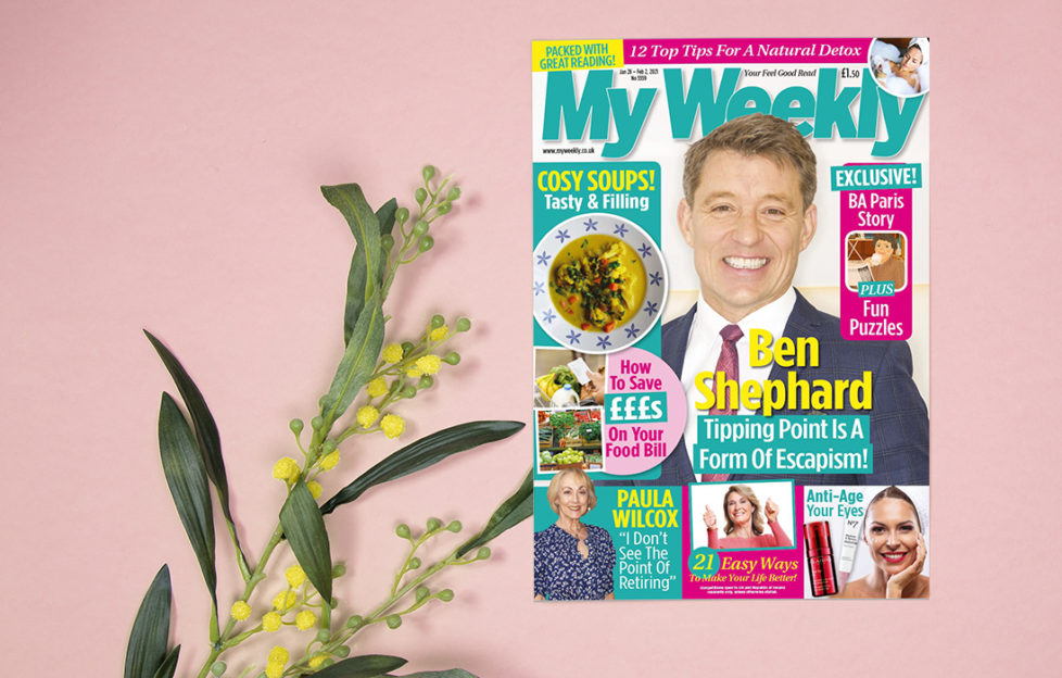 Cover of My Weekly latest issue with Ben Shephard and soup recipes, on pink background with a branching stalk of small yellow flowers