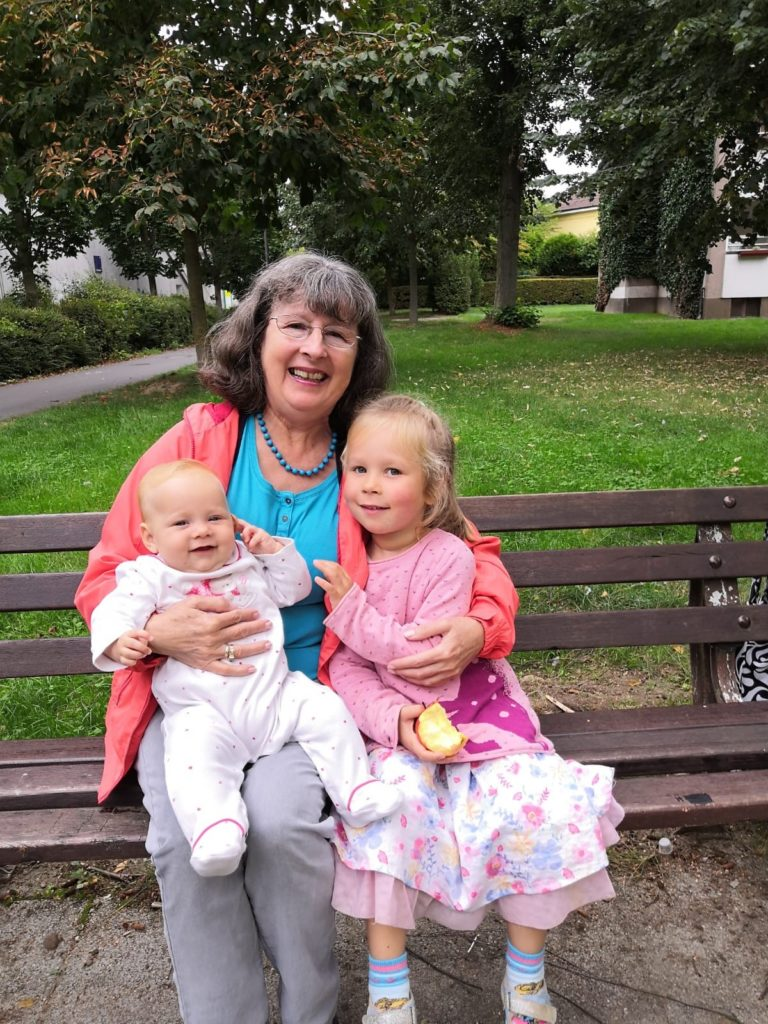 Gabrielle Fey and her grandson and granddaughter in Germany