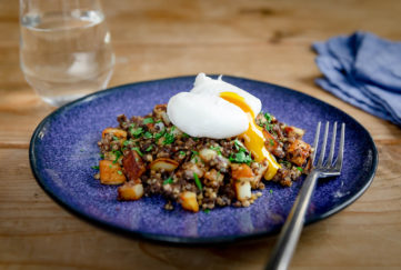 brunch dish with haggis, potatoes and poached egg